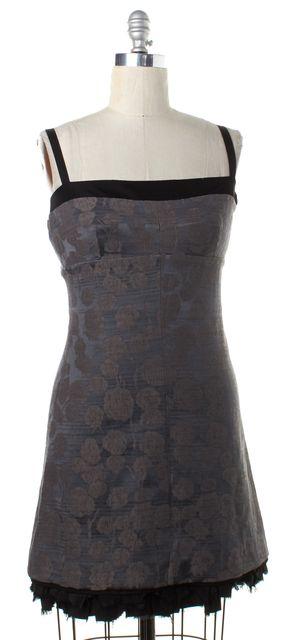 BALENCIAGA Gray Black Floral Linen Frayed Hem Sheath Dress