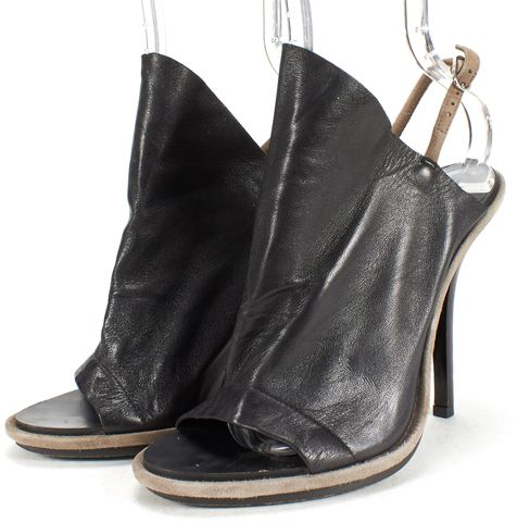 BALENCIAGA Black Brown Leather Open Toe Heels