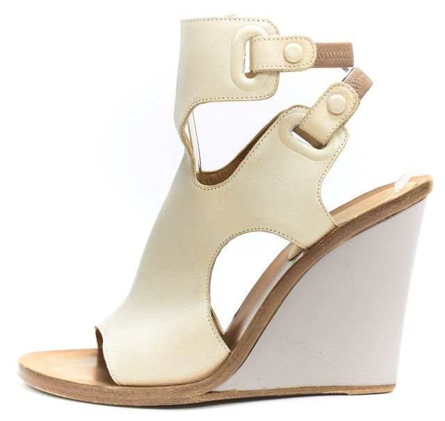 BALENCIAGA Taupe Double Ankle Strap Contrast Heel Wedge Sandal