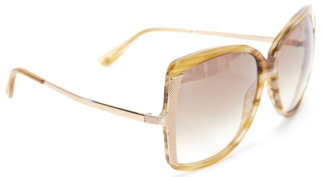 BALENCIAGA Yellow Brown Acetate Frame Metal Arm Gradient Lens Square Sunglasses