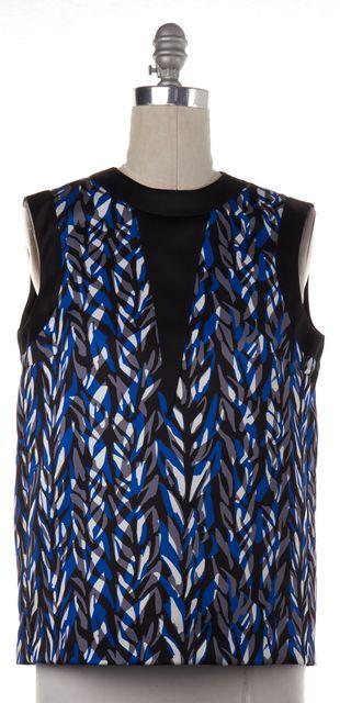 BALENCIAGA Blue Black Print Sleeveless Blouse