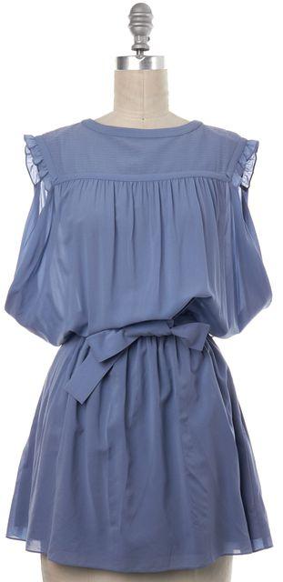 BALENCIAGA Blue Silk Sleeveless Button Back Blouson Dress