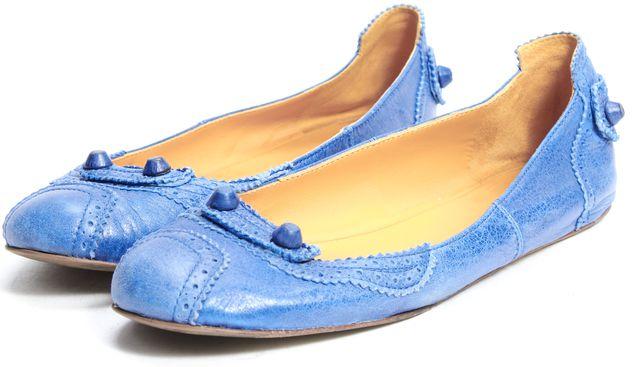 BALENCIAGA Royal Blue Perforated Leather Flats