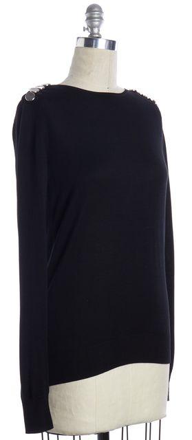 BALENCIAGA Black Silver Embellished Low Back Knit Top