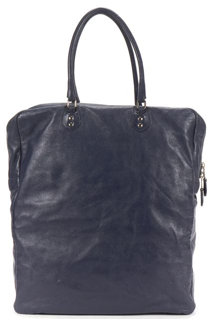 BALENCIAGA Navy Blue Leather Multi Pocket Utility Tote Bag