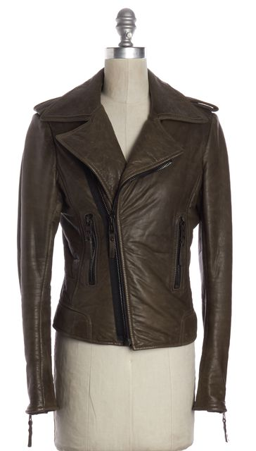 BALENCIAGA Brown Lamb Leather Zip Up Motorcycle Jacket