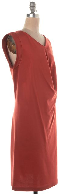 BALENCIAGA Orange Draped Asymmetrical Sleeve Shift Dress
