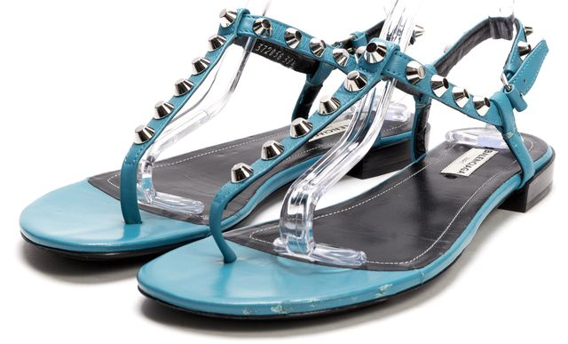 BALENCIAGA Teal Blue Silver Studded Embellished Leather Sandals