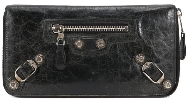 BALENCIAGA Black Silver Giant 12 Leather Continental Zip Around Wallet