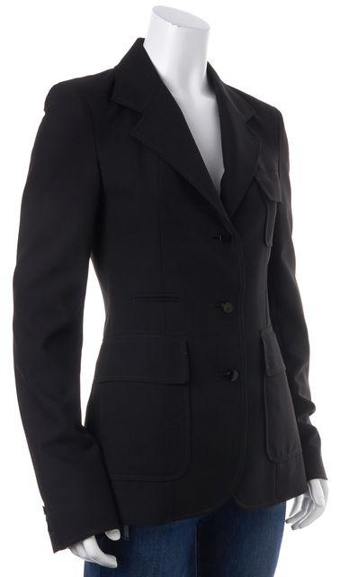 BALENCIAGA Black Three Button Patch Pockets Long Slim Fit Blazer