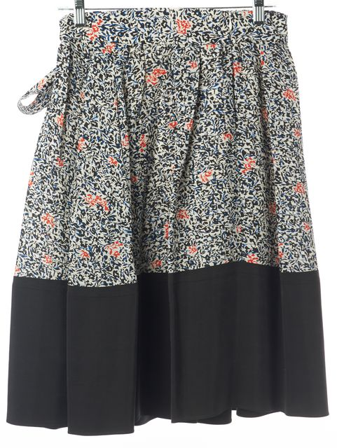 BALENCIAGA Black Blue Ivory Red Abstract Floral Print Silk A-Line Skirt