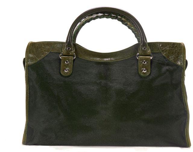 BALENCIAGA Olive Green Pony Hair Leather Motorcycle City Tote Satchel Handbag