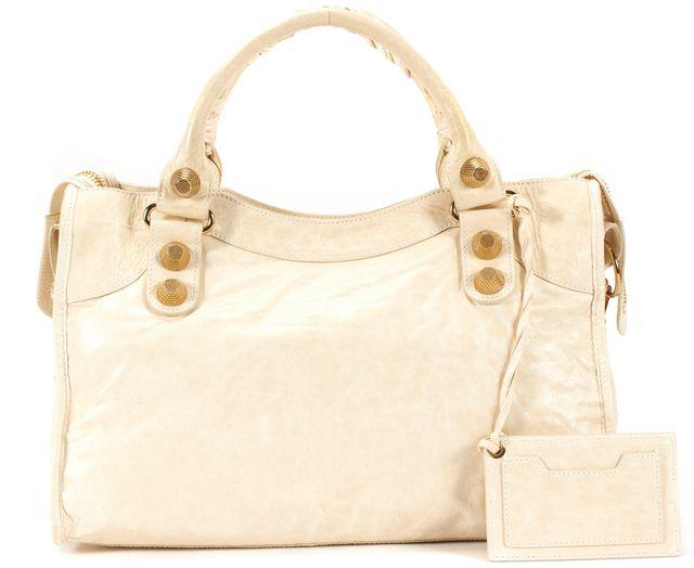 BALENCIAGA Ivory Chèvre Leather Gold Hardware Giant City Top Handle Shoulder Bag