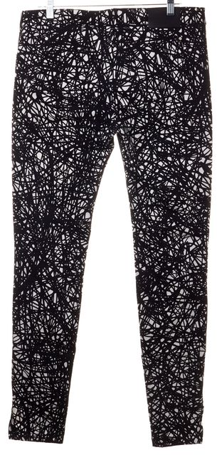 BALENCIAGA Black White Printed Ankle Zip Skinny Jeans