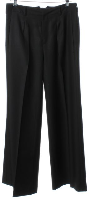 BALENCIAGA Black Silk High Waisted Pleated Trouser Dress Pants