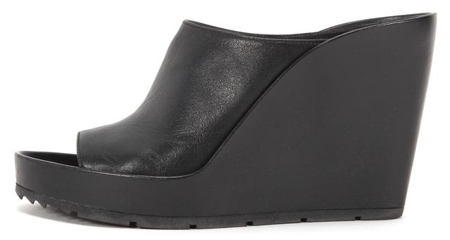 BALENCIAGA Black Leather Pelles Gomma Sandal Wedges