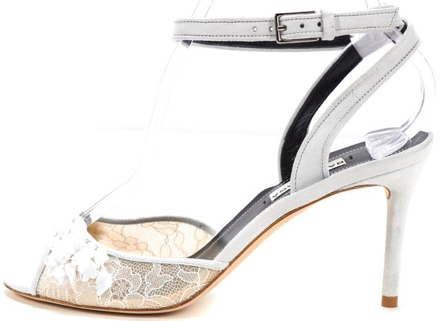 BALENCIAGA Gray White Suede Lace Sequin Embellished Ankle Strap Heels