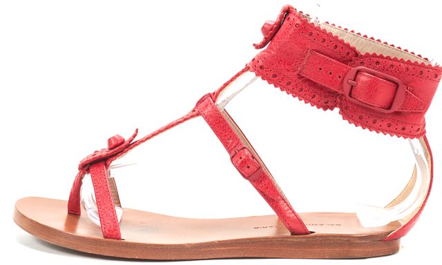 BALENCIAGA Red Leather Leather Studded Flat T-Strap Sandals