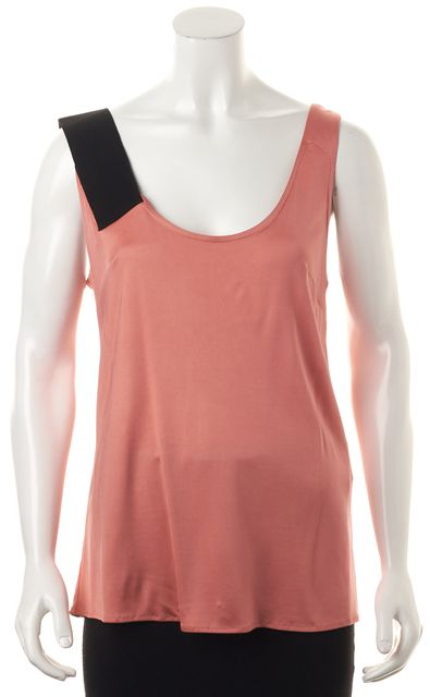 BALENCIAGA Pink Black Sleeveless Scoop Neck Blouse Top