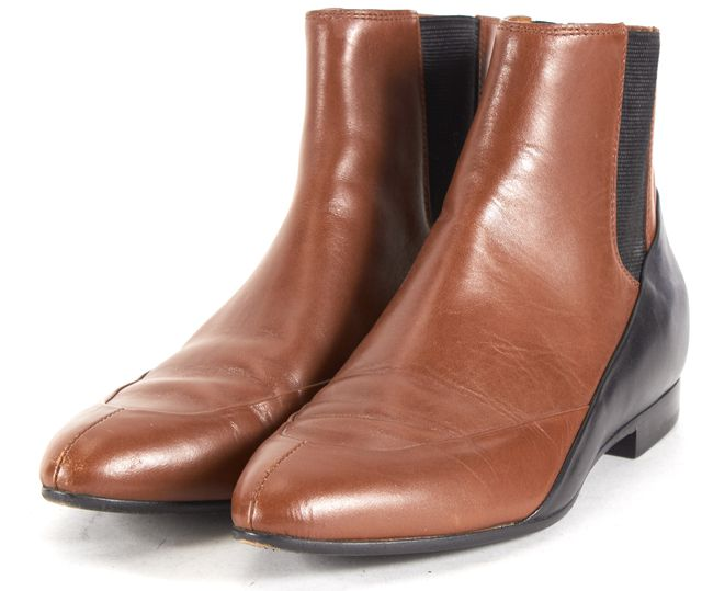 BALENCIAGA Brown Black Leather Pointed Toe Chelsea Ankle Boots