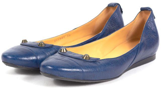 BALENCIAGA Navy Blue Stud Embellished Leather Ballet Flats
