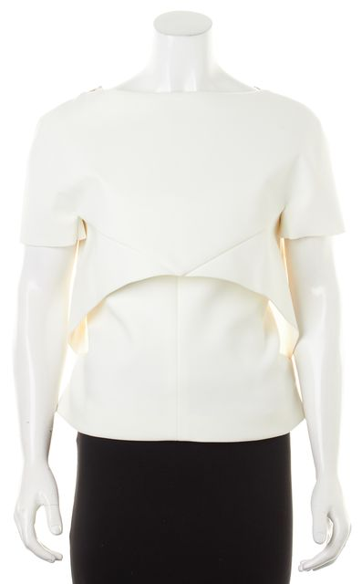 BALENCIAGA White Gray Marbled Layered Structured Formal Blouse Top