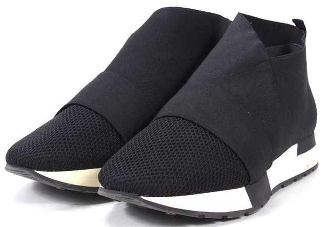 BALENCIAGA Black White Canvas Mesh Trim Trainer Sneakers