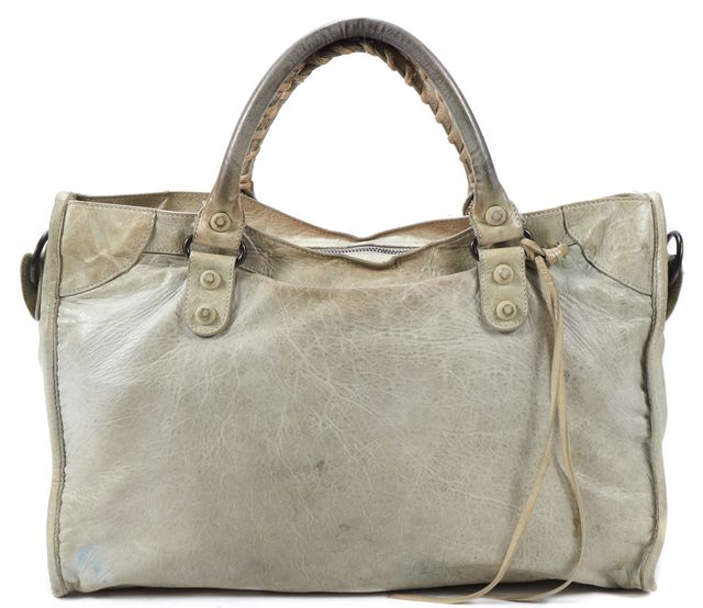 BALENCIAGA Gray Beige Leather Classic City Satchel Bag