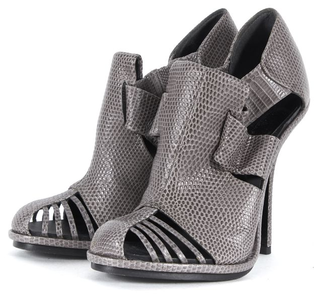 BALENCIAGA Gray Embossed Leather Cutout Booties