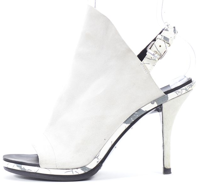 BALENCIAGA Gray Suede Leather Marble Print Open Toe Slingback Heels