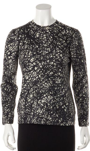 BALENCIAGA Black Ivory Geometric Print Wool Crewneck Sweater