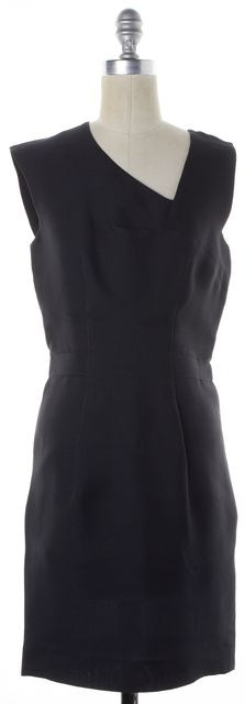 BALENCIAGA Black Asymmetrical Neckline Silk Sheath Dress