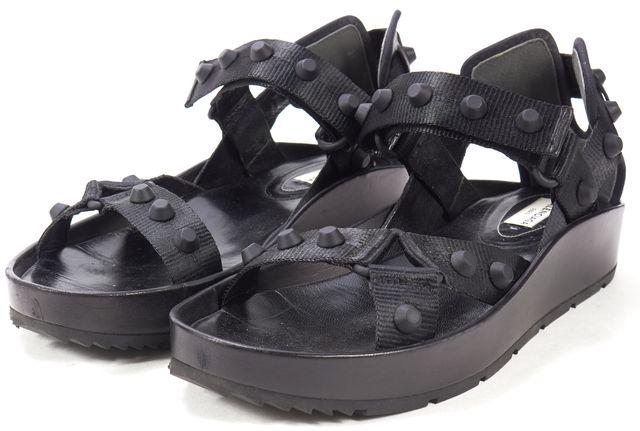 BALENCIAGA Black Studded Nylon Leather Trim Arena Platform Sandals