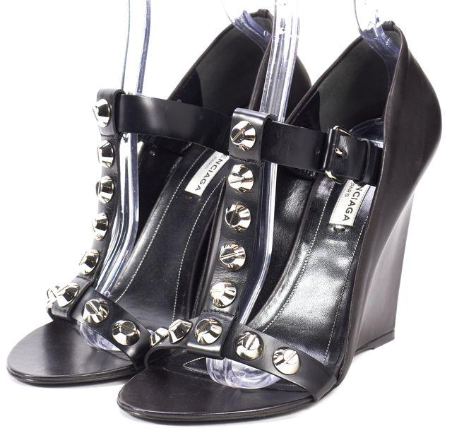 BALENCIAGA Black Wedges Leather Silver Stud Sandals