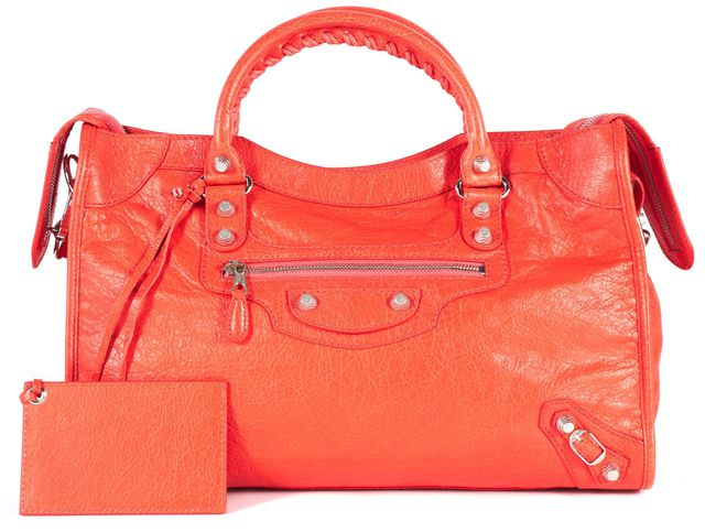 BALENCIAGA Blood Orange Leather Silver Hardware City Satchel Bag