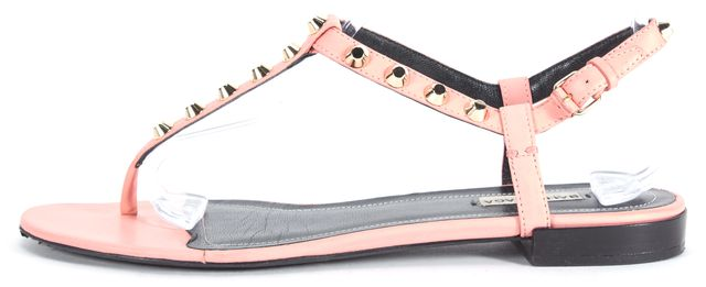 BALENCIAGA Rose Pink Studded Leather Flat T-Strap Sandals