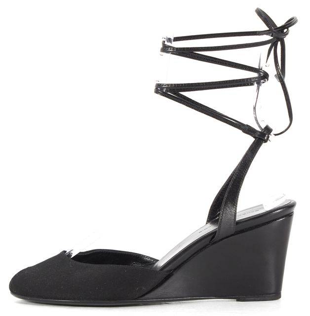 BALENCIAGA Black Canvas Leather Trim Peep-Toe Wrap Around Ankle Wedges