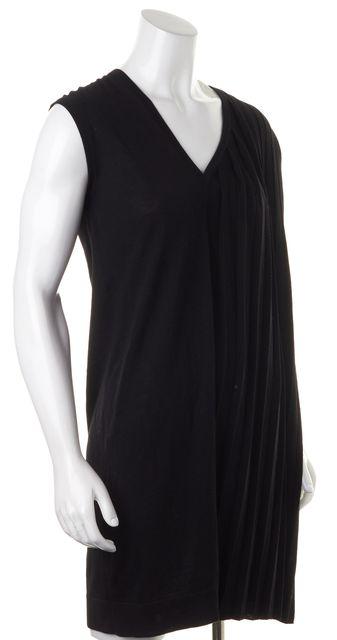 BALENCIAGA Black Wool Knit Pleated V-Neck Sleeveless Shift Dress