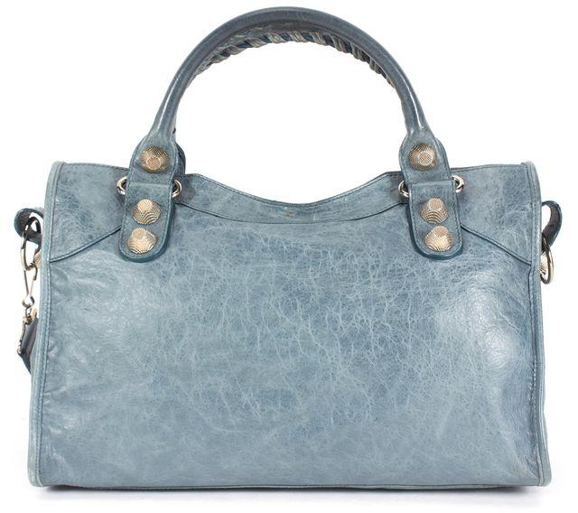 BALENCIAGA Pale Blue Leather City Satchel Shoulder Bag
