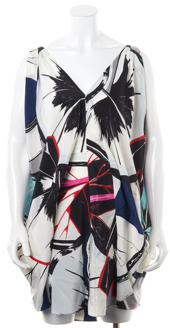 BALENCIAGA White Multi-color Print Silk Shift Drape Effect Dress