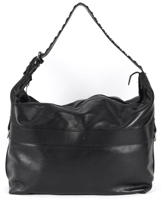 BALENCIAGA Black Leather Silver Studded Strap Large Hobo Bag