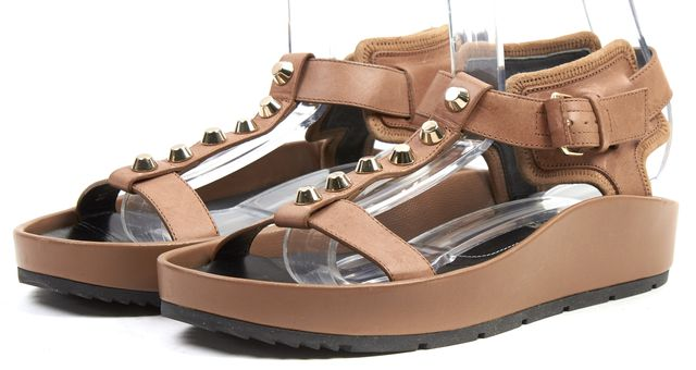 BALENCIAGA Camel Brown Gold Leather T-Strap Studded Ficelle Sandals