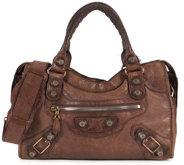 BALENCIAGA Brown Leather Bronze Tone Studs Motocross Hobo Shoulder Bag
