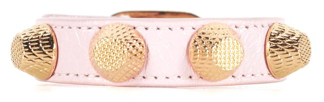 BALENCIAGA Baby Pink Studded Leather Statement Fashion Bracelet