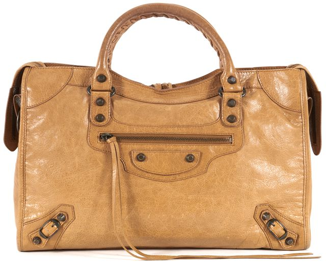 BALENCIAGA Tan Brown Leather Classic City Satchel