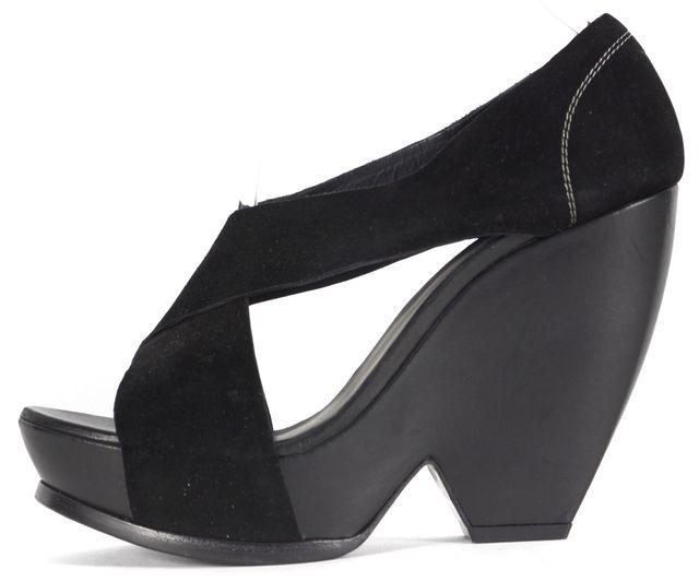 BALENCIAGA Black Suede Criss-Cross Sandal Wedges