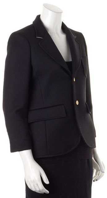 BALENCIAGA Black Wool Two-Button Contrast Collar Lining Blazer