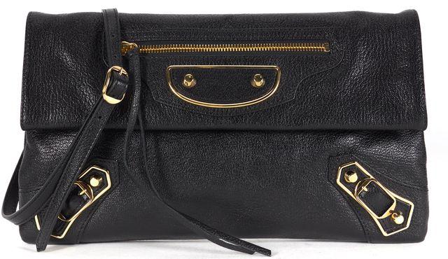 BALENCIAGA Black Leather Classic Edge Envelope Clutch Crossbody