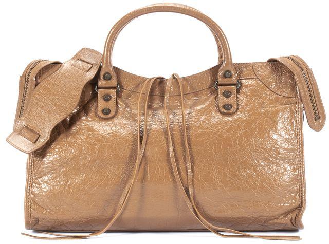 BALENCIAGA First Caramel Beige Leather Top Handle Satchel Bag