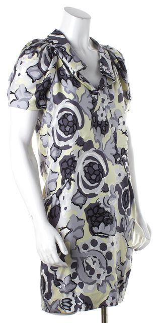 BALENCIAGA Gray Black Floral Collard Silk Puffed Cap Sleeve Shift Dress